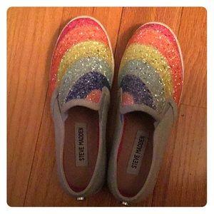 Girls Steve Madden rainbow glitter slip ons